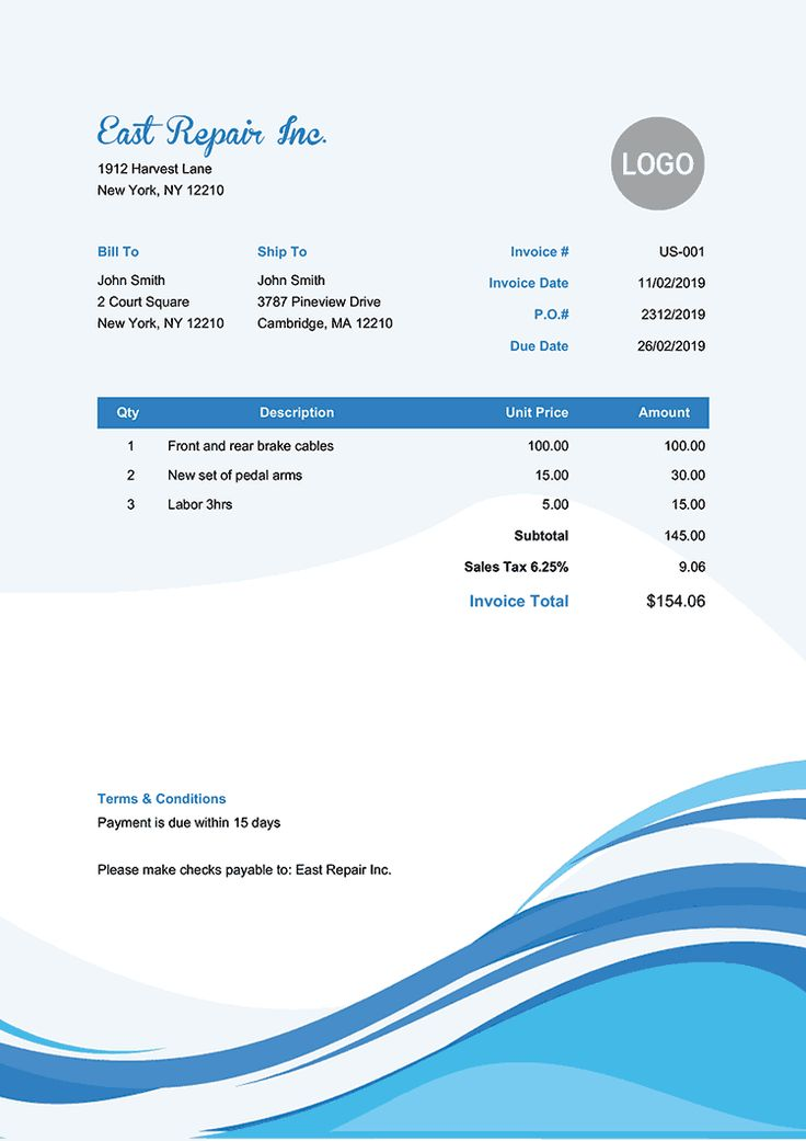 Invoice Template Us Cool Waves Invoice template, Free