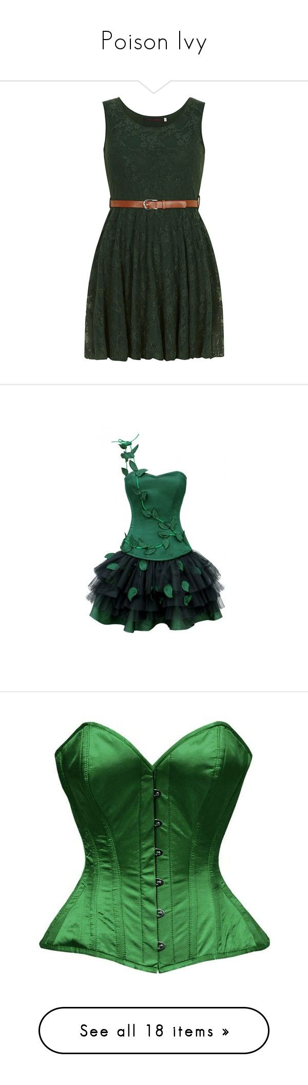 """""""Poison Ivy"""" by whiterabbitmadness ❤ liked on Polyvore featuring dresses, vestidos, short dresses, robe, green, lace mini dress, green color dress, dorothy perkins dresses, short green dress and flowers"""