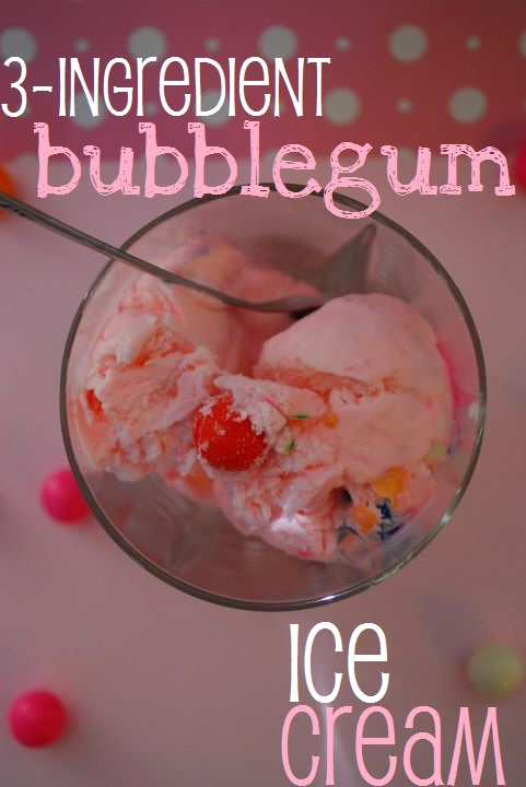 3-ingredient bubble gum ice cream...NO ice cream maker needed! And with this recipe, there are endless possibilities for other flavors! :)