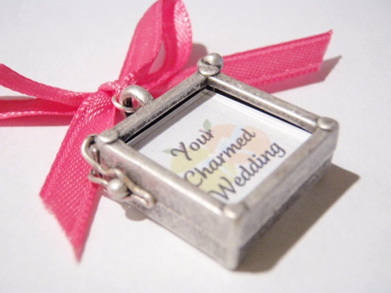 Two Sided Square Wedding Bouquet Charm: Wedding Bouquets