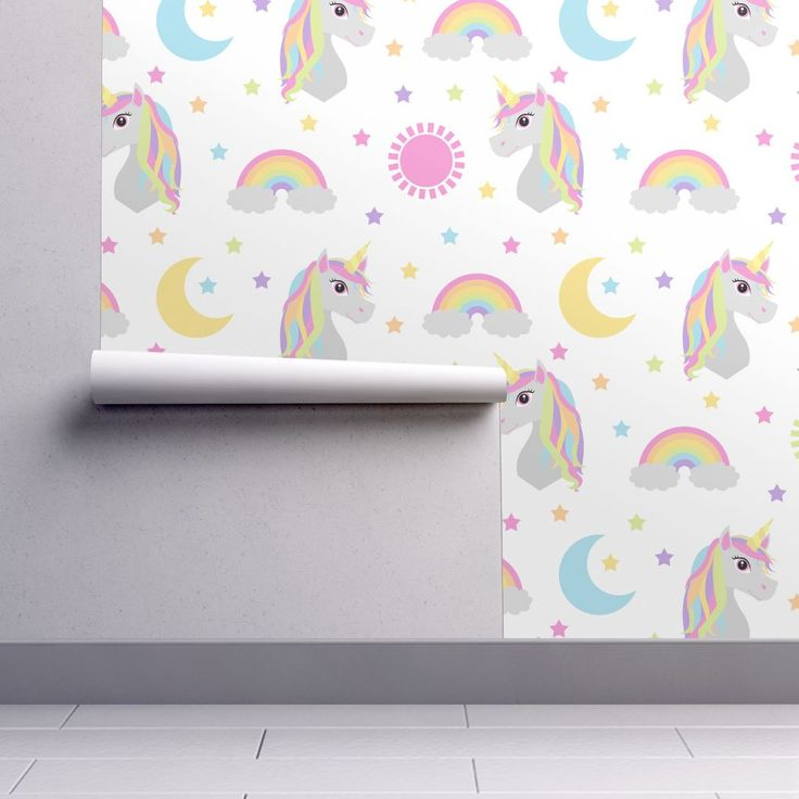 Isobar Durable Wallpaper featuring Retro Rainbow Unicorn Pastel by jannasalak | Roostery Home Decor