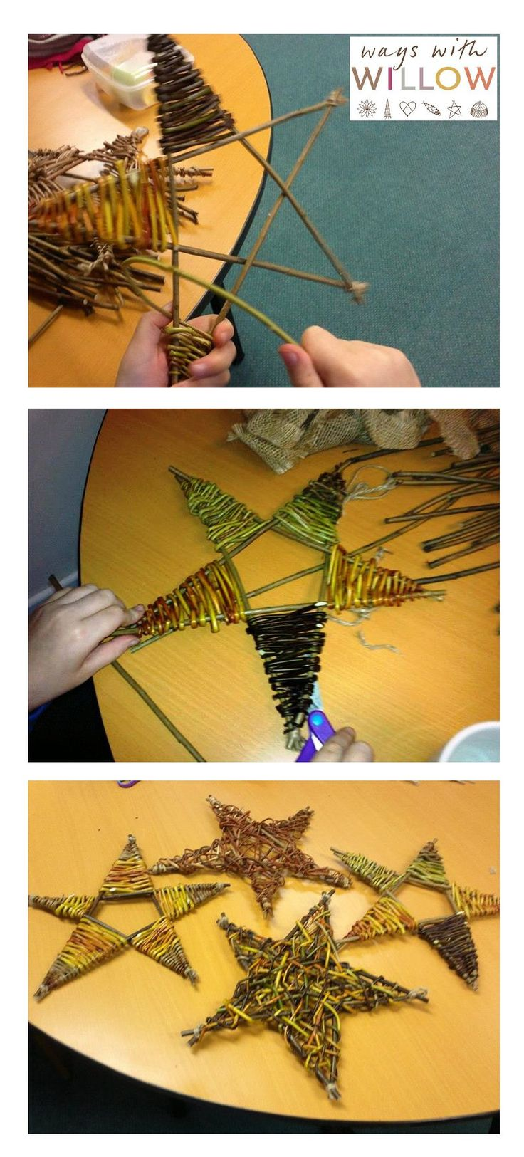 25th November 2014: Half-day willow weaving course: Large woven stars for Christmas - Create gorgeous random woven stars with a variety of willow. www.wayswithwillow.co.uk:
