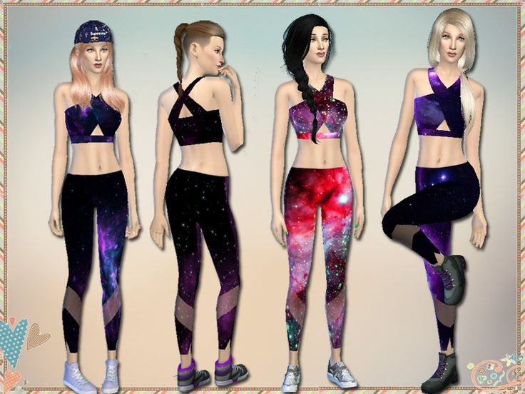 4 sports bras & leggings in a galaxy print. Bras require Get Together, leggings require Spa Day.  Found in TSR Category 'Sims 4 Female Athletic'