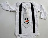 Snowman Tie and Suspender Bodysuit Outfit. Baby Boy Christmas Outfit. Snowman face. Chevron tie. Newborn boy toddler boy winter shirt