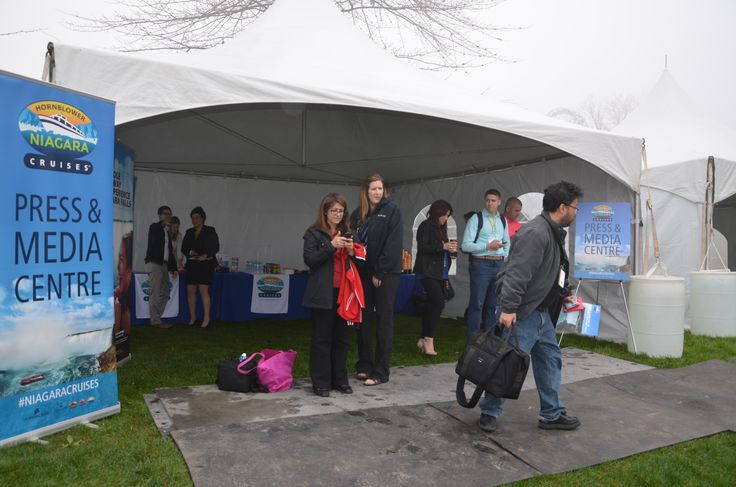 Media Centre Check-In tent at the Hornblower Niagara Cruises Ribbon Cutting Ceremony