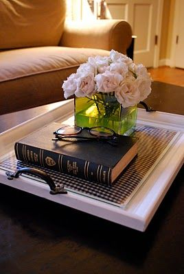 Take a large picture frame, put scrapbooking paper or fabric under the glass and add drawer pulls to each end. Makes a beautiful tray!  Good gift idea too!