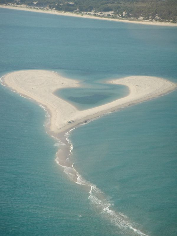 white sand heart shaped beach in Mozambique
