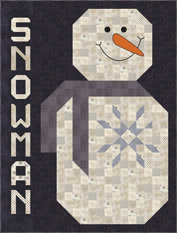 "Mr Snowman quilt, 57"" x 72.5"", by Lisa Bongean 