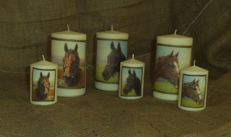 Candles napkin-decoupaged with pretty horse images. I also decorated trinket boxes to match to make some lovely gifts. View more of my napkin decoupage work on www.facebook.com/... and in my Folksy shop folksy.com/shops/YourLovelyHome