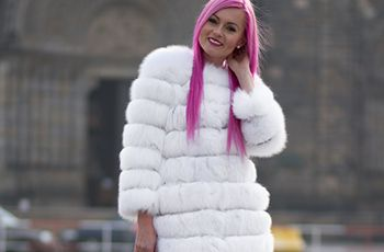 Polar fox fur coat, fur coat, white coat, winter fashion, luxury fashion, pink hair, extended hair.