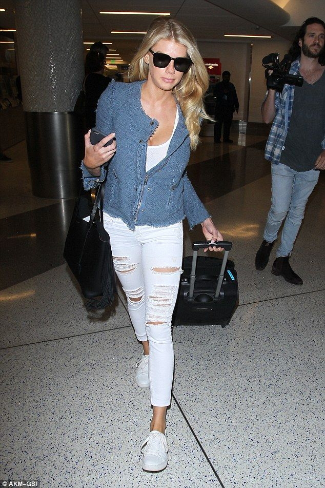 Charlotte McKinney covers up at LAX before posting bikini photo to Instagram | Daily Mail Online