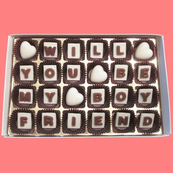 Will You Be My Boyfriend Marble Chocolate Letters by chocolatesays       Will You Be My Boyfriend