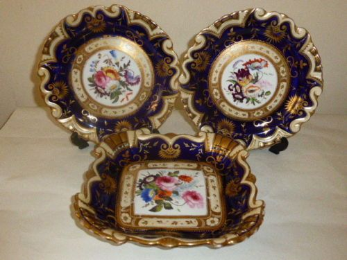 Ridgway-Hand-painted-floral-set-of-3-plates-pre-1840-pattern-660. Sold to Australia for £175