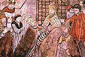 Clément V transportant le reliquaire de st Bertrand. Fresque de la cathédrale de St-Bertrand-de-Comminges. - Peu décidé à rejoindre Rome où régnait le marasme le plus total, il semblerait que la prime intention de Clément V fut de passer son pontificat à Bordeaux. Rome au 13°s n'était pas encore la capitale politique et administrative de l'Eglise, la cour pontificale étant itinérante, mais elle gardait la prééminence car elle conservait les reliques des apôtres Pierre et Paul.