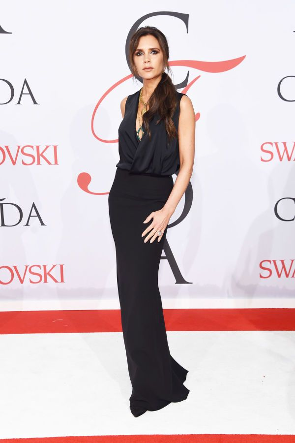 Victoria Beckham in an impossibly chic draped black gown at the CFDA Awards