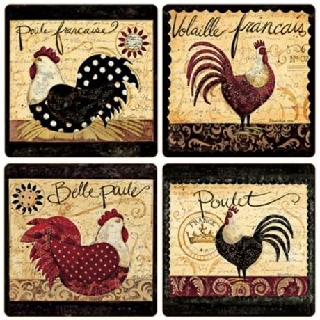 Hindostone Set of 4 Sandstone French Rooster Coasters -