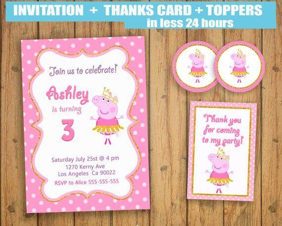 Peppa Pig Ballerina Ballet Invitation Thanks Cards