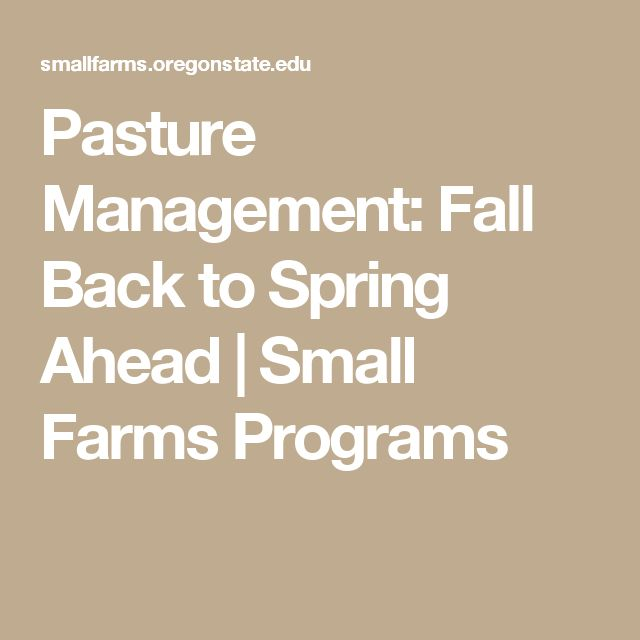 Pasture Management: Fall Back to Spring Ahead | Small Farms Programs