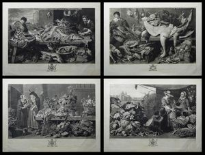 A Fish Market, The Game Market, A Herb Market, A Fruit Market by Richard Earlom after George Farington and Frans Snyders