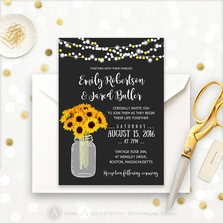 Mason Jar Wedding Invitation Printable, Rustic Fall Wedding Invitations Template DOWNLOAD, Chalkboard Mason Jar & Sunflowers Country Wedding