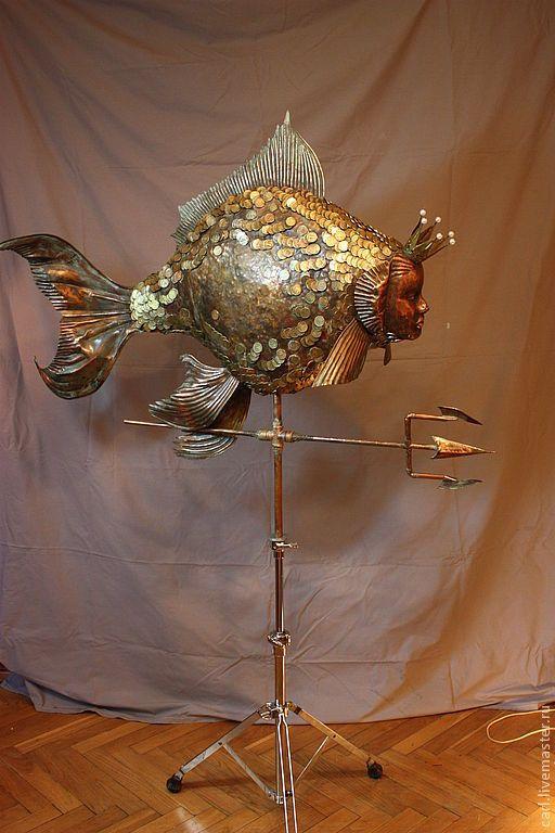 Купить Золотая рыбка - чеканка по меди, дифовка, пайка, припой, подарок, оксидирование, патинированная медь