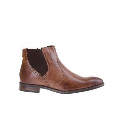 Pánské kotníkové boty z pravé kůže MATAR - hnědá