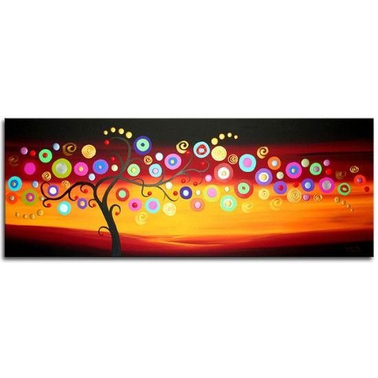 Acryl schilderij 'Tree of Life V' van Ines. Abstracte levensboom met kleurige bloemen op een donkere achtergrond - Kunstvoorjou.nl #ines #schilderij #levensboom #kunstvoorjou