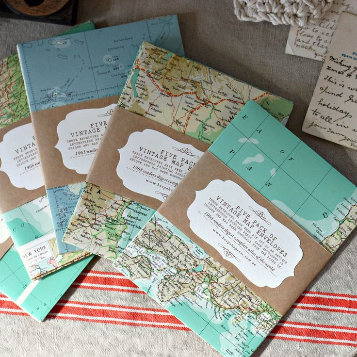 5 Pack Of Envelopes, Made From Vintage Maps | Bespoke Press