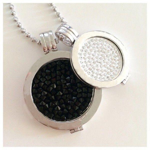 Vinnie design gioielli mio moneta pendente della collana con 2 pz cristallo monete, 2 pz detentori di moneta, 1 pz 80 cm catena della sfera in acciaio inox