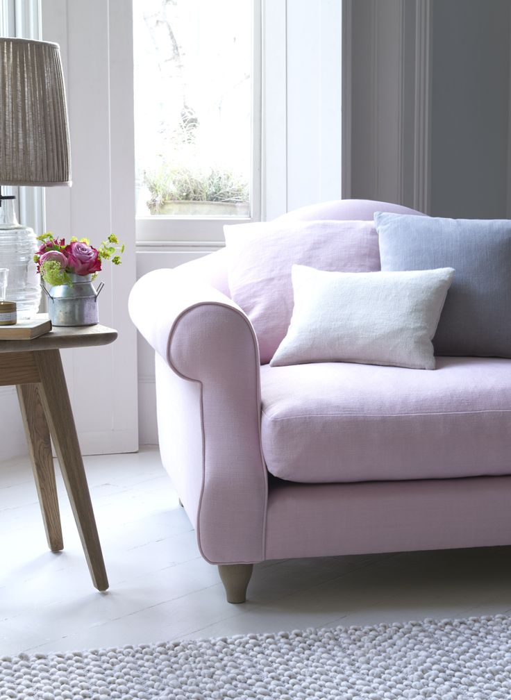 Loaf's comfy Sloucher love seat in Pale Rose pink linen