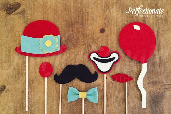 7 Felt Carnival Photo-Booth Props Circus Photo by Perfectionate