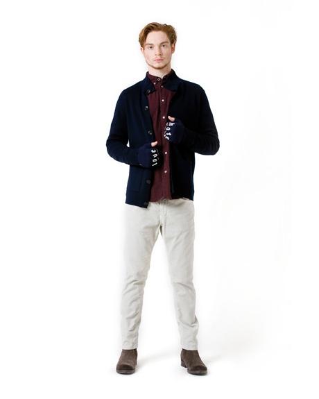 """Fabric wool jacket, """"Love"""" wool gloves, velvet pants."""