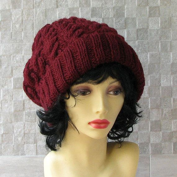 Hand Knitted Hat Women Burgundy Slouch hat beret by AlbadoFashion