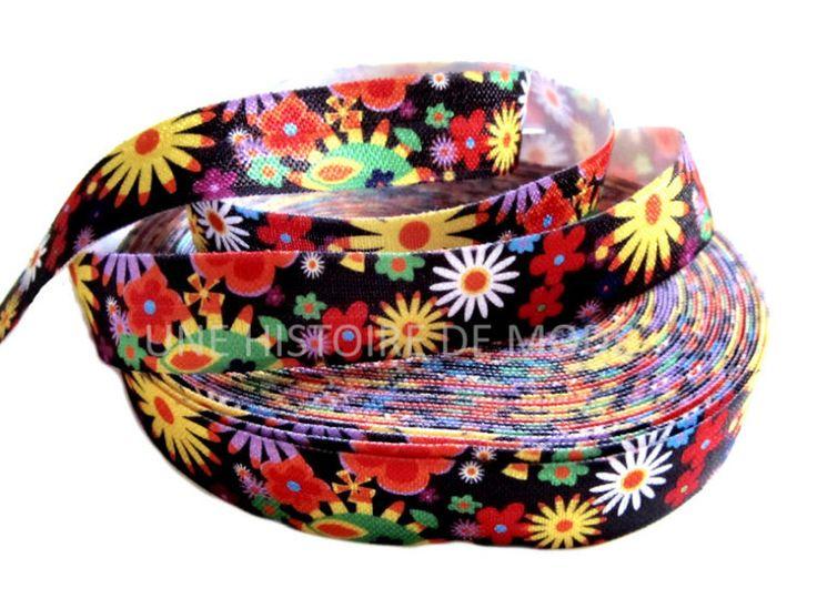 1M de ruban élastique noir imprimé fleurs multicolore - 15 mm de largeur - ruban stretch - biais