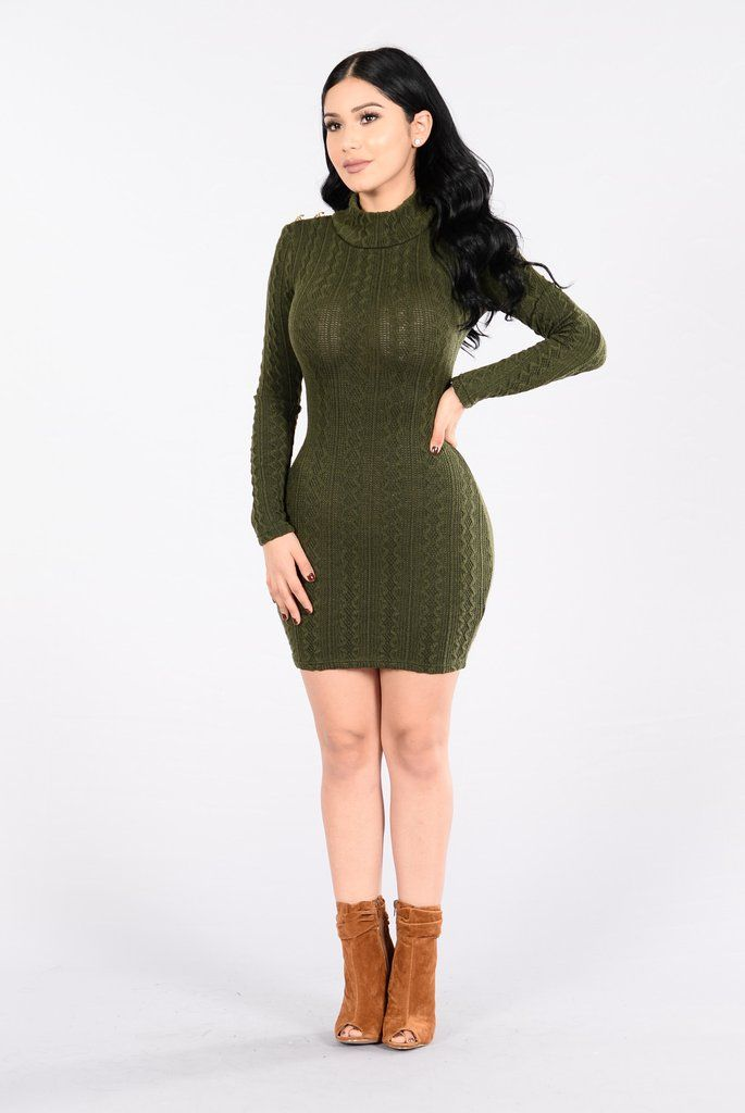 - Available in Black, Olive, and Taupe - Sweater Dress - Turtle Neck - Long Sleeve - Mini Length - Gold Grommet Shoulders - Lined - 60% Polyester 30% Nylon