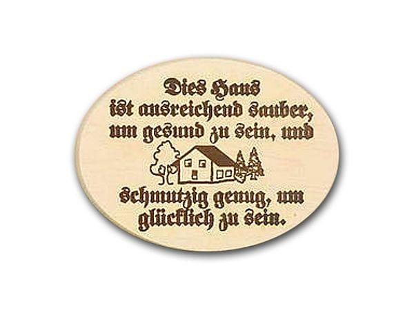 Hausschild Aus Holz Mit Lustigem Spruch Dies Haus Ist Ausreichend Sauber Hausnummern Und