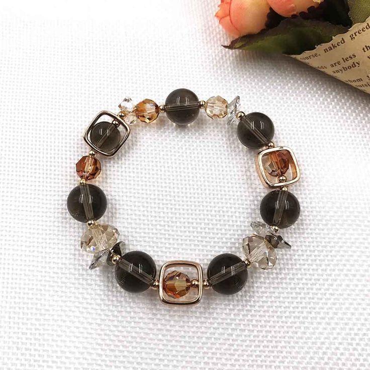 UneJoux Fashion Bracelet With Smoky Quartz & Swarovski Crystal FBL-5