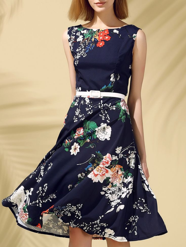 $12.89 Vintage Round Neck Sleeveless Floral Print Slimming Dress For Women