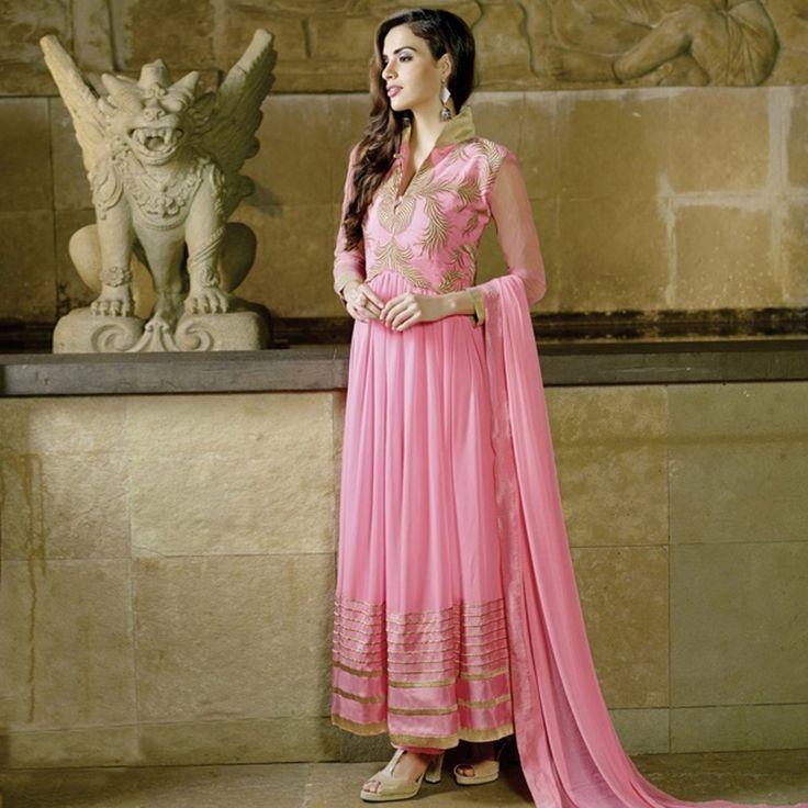 Adorable Pink Georgette Anarkali Suit #Pink #Anarkali