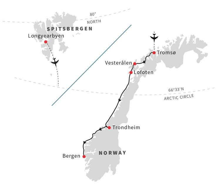 For explorers who want to get a taste of Norway's beautiful northern coast and venture further north to Svalbard, high in the Arctic Circle, to experience the special sensation of the Polar Night, this voyage combines both.