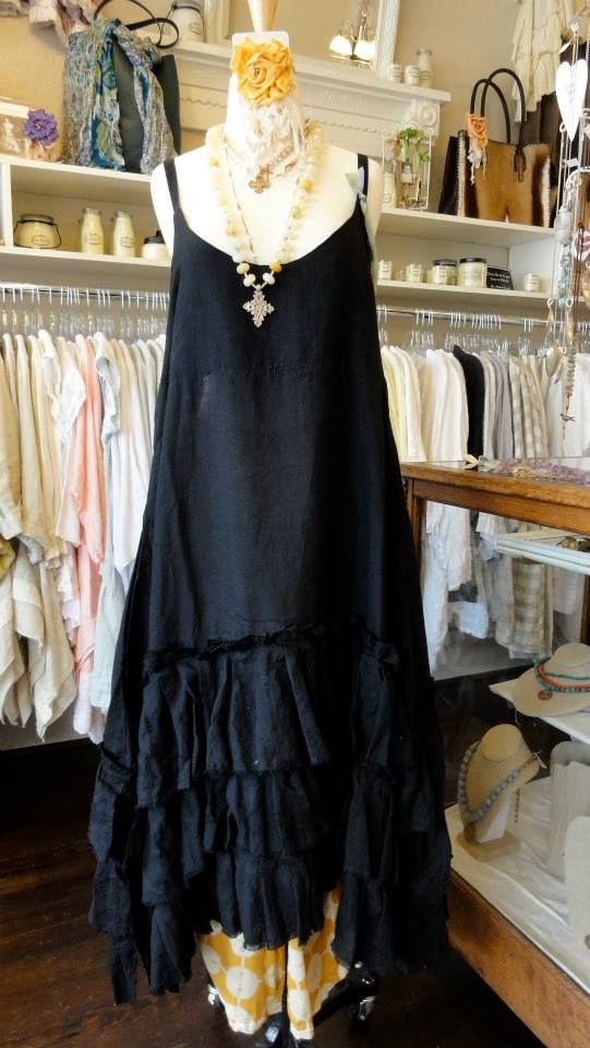 Tina Givens Selena Dress in Black. A great layering piece! Shown over the Jane Pant in Saffron Print.  fb.com/mimibellafinelinenwear