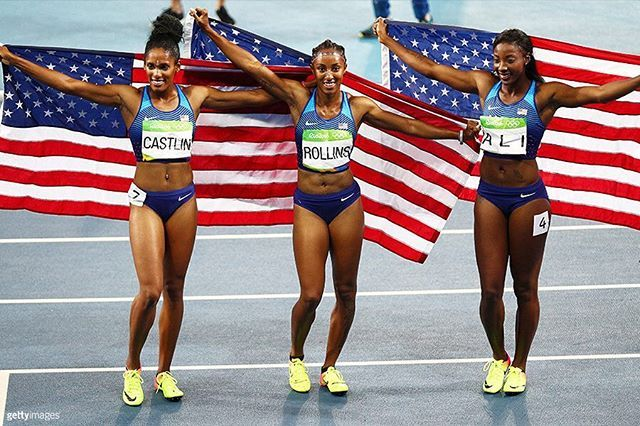 That's a SWEEP for team USA!  Brianna Rollins, Nia Ali, & Kristi Castlin swept the women's 100m hurdles.