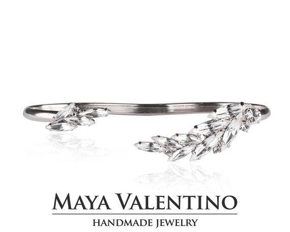 14 K oro pulsera de palma, palma para el brazo, pulsera de Swarovski, pulsera de cristal, pulsera nupcial, joyería de baile, joyería