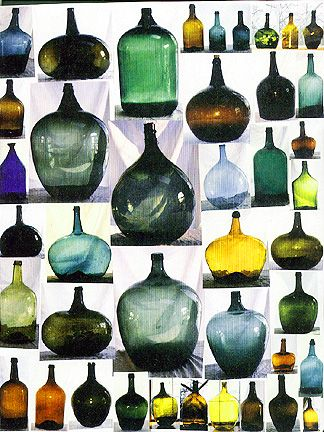 Demijohns from Antique Bottle & Glass Collector magazine.: Bottle Collection, Water Bottle, Antiques Bottle, Riviera Style, Bottle Glasses, Collection Display, Glasses Collector, Wine Bottle, Glasses Bottle
