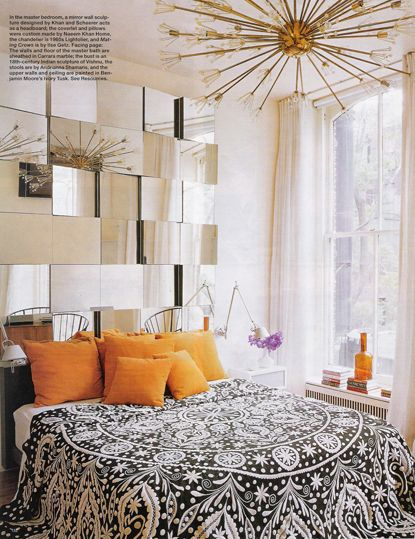 Mirrors, mirrors, mirrors!!Decor, Orange, Mirrors Headboards, Mirrors Wall, Lights Fixtures, Dreams, Interiors, Bedspreads, Bedrooms Ideas