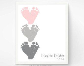 Pink Gray Nursery Wall Art - Baby Footprint Hearts - Personalized Baby Girl Nursery Decor - Baby Wall Art Print Dusty Pink, Charcoal Grey