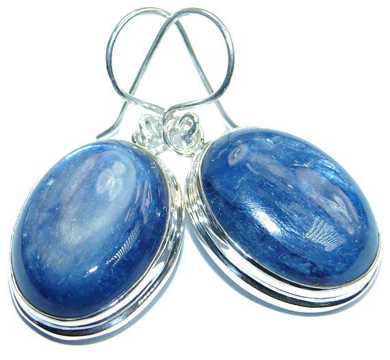 Kyanite Sterling Silver Earrings  weight 13.80g  dim L  1 1