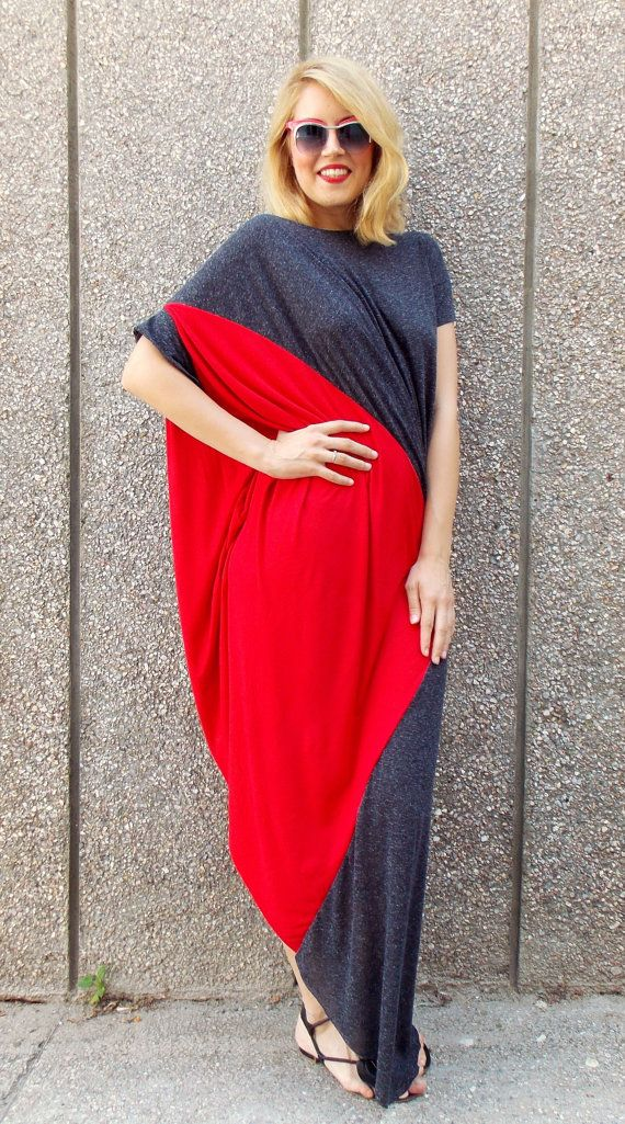 Summer dress made of finest cotton trikot. Asymmetrical plus size dress in two colors: red and antracit. Asymmetric cut and oversize dress. Short sleeves dress.  Composition: 95% cotton, 5% elasthane Care instructions: Wash at 30 degrees.  The model in the picture is size S.  Can be made in ALL SIZES.  If you have any other specific requirements, do not hesitate to contact me!  I DO NOT CHARGE EXTRA MONEY for custom made items.  All you need to do is send me your measurements. Below, you…