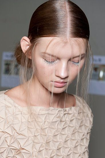 Wispy, Otherwordly hair for Issey Miyake SS15 by Eugene Souleiman #pfw