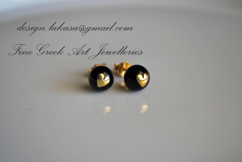 Hand-made 925 Sterling Silver Earrings. Gold Plated. Black Pearls